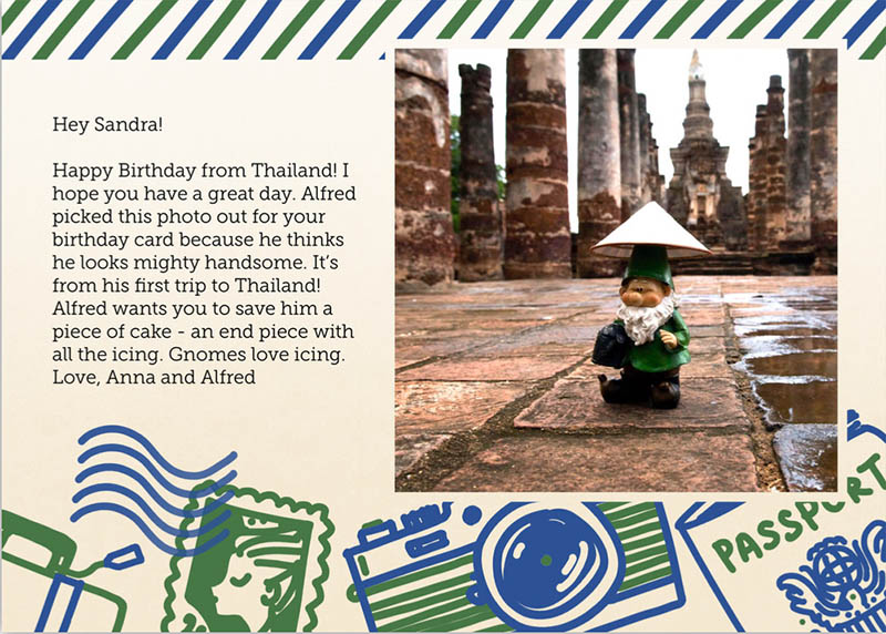 37511873e9 This is a postcard I sent my Aunt with one of my own photos of my  globetrotting gnome